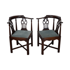 Chippendale Rocking Chair Pink Leather Hickory Corner Chairs Pair Chairish