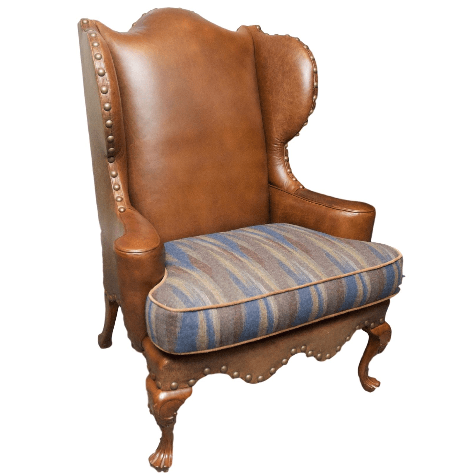 Leather Dining Chairs With Nailheads Century Leather Wingback Chair W Nailhead Trim Chairish