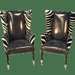 Zebra Print Office Chair Cr Plastics Adirondack Chairs Review Modern Wingback With Pair Chairish