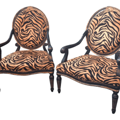 Tiger Print Sofa Set Dark Grey Leather Uk French Quarter Arm Chairs A Pair Chairish