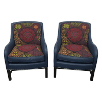 Navy Leather Club Chairs -A Pair | Chairish