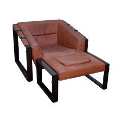 Modern Leather Chair And Ottoman Bench Height Mid Century Percival Lafer Rosewood Frame