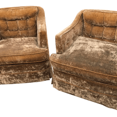 Gold Velvet Chair Rocking Singapore Mid Century Crushed Club Chairs A Pair