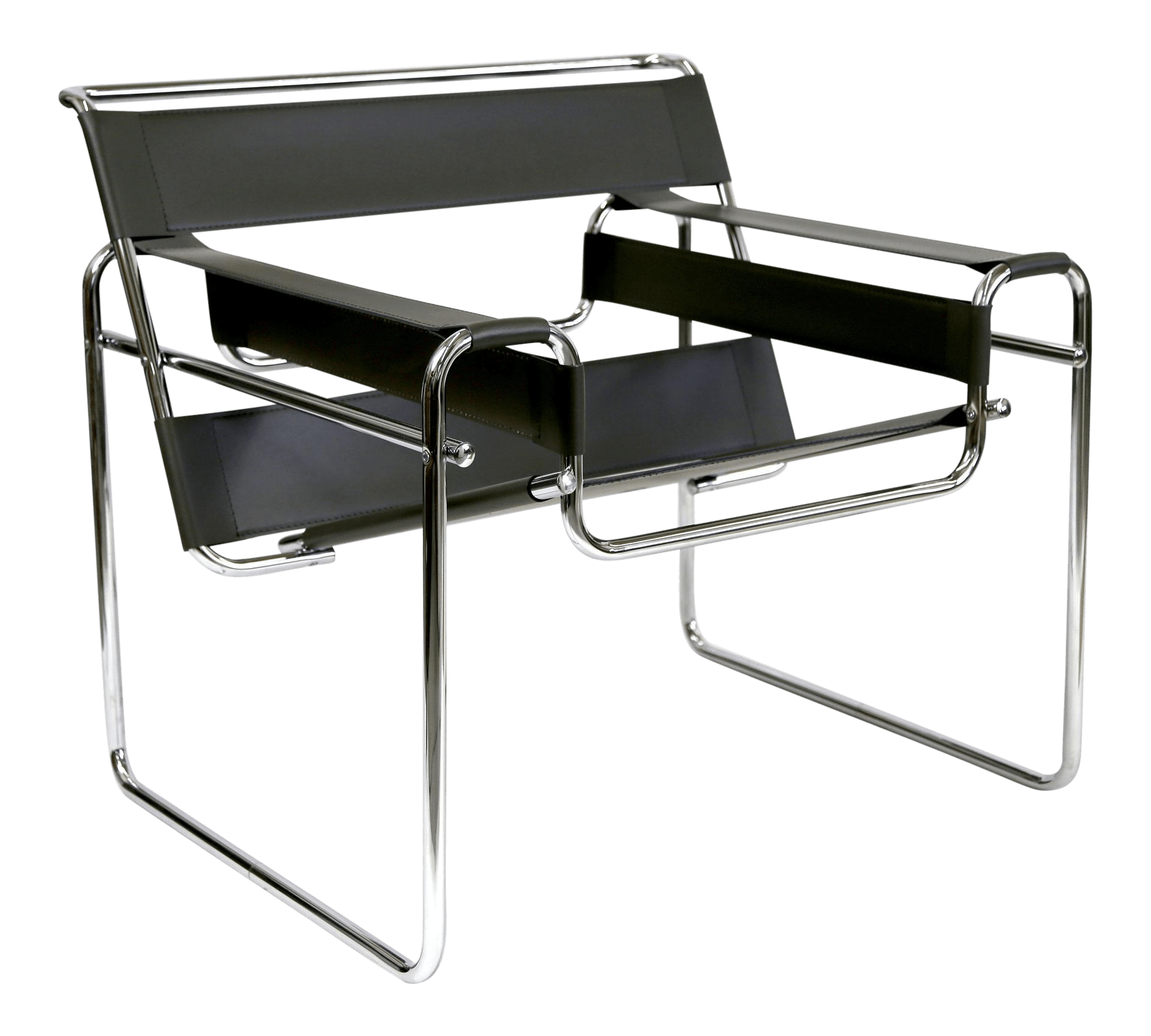 Reproduction Wassily Chair Marcel Breuer Black Leather and