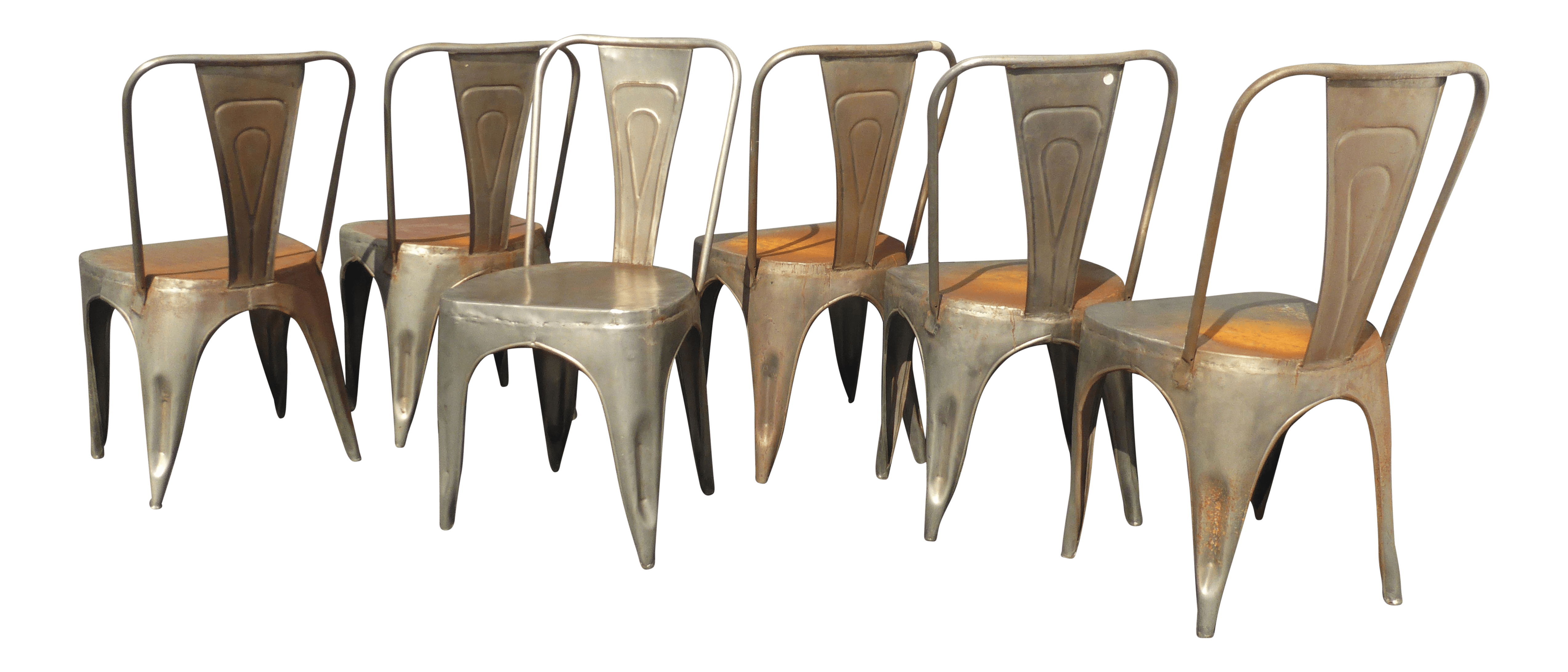 rustic metal dining chairs big man zero gravity chair vintage industrial style set
