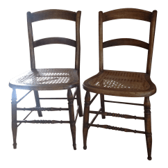 Antique Cane Dining Room Chairs Revolving Chair Gif Walnut Seat Pair Chairish