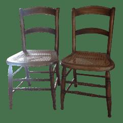 Antique Cane Chairs Ikea Folding White Walnut Seat Dining Pair Chairish