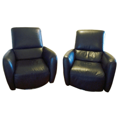 Italsofa Leather Chair Sofa Upholstery Sheffield Black Recliners A Pair Chairish