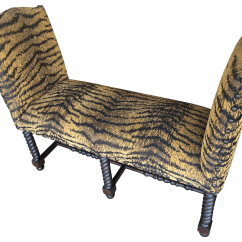 Tiger Print Chair Swing Cape Town Chenille End Of Bed Bench Barley Twist Chairish