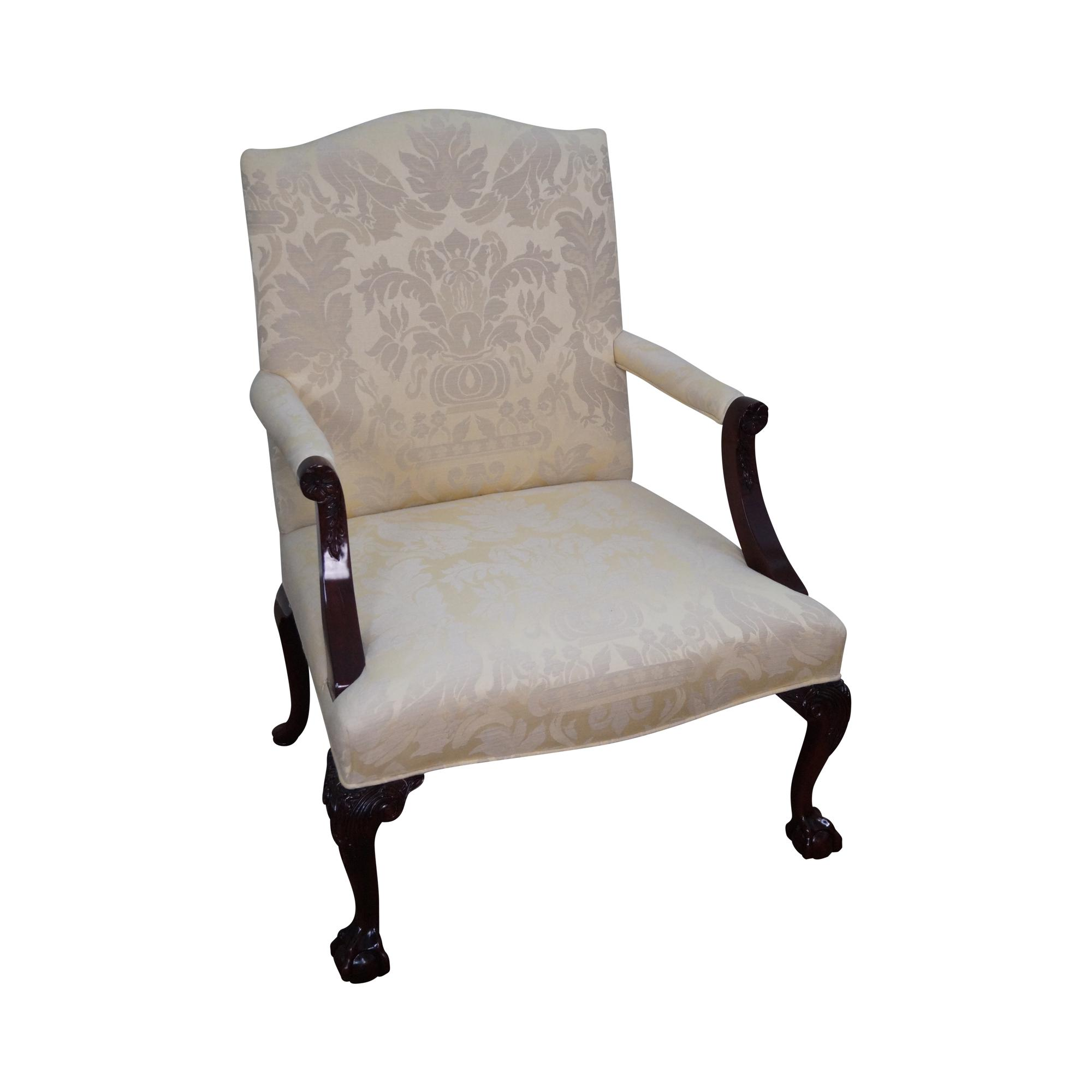 chippendale rocking chair revolving hydraulic kindel mahogany style library arm chairish