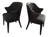 Leather & Fabric Barrel Chairs - A Pair | Chairish