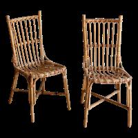 Vintage Rattan Boho Chic Dining Chairs - A Pair | Chairish