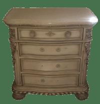 Cream Colored Marble Nightstand   Chairish