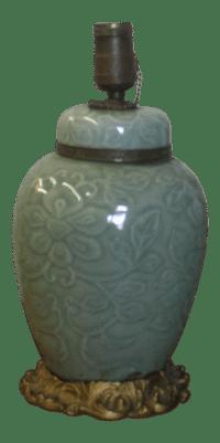 1940's Celadon Porcelain Table Lamp | Chairish