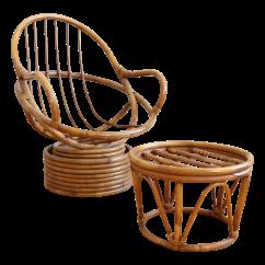 Swivel Pod Chair Arm Covers Ebay Mid Century Rattan Bamboo And Ottoman