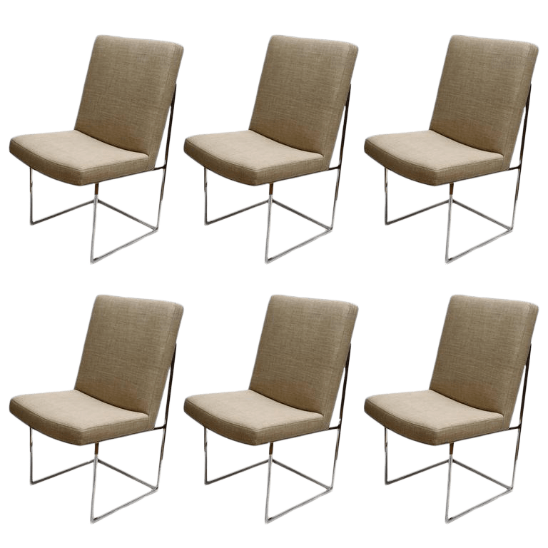 Set of Six Milo Baughman Dining Room Chairs  Chairish