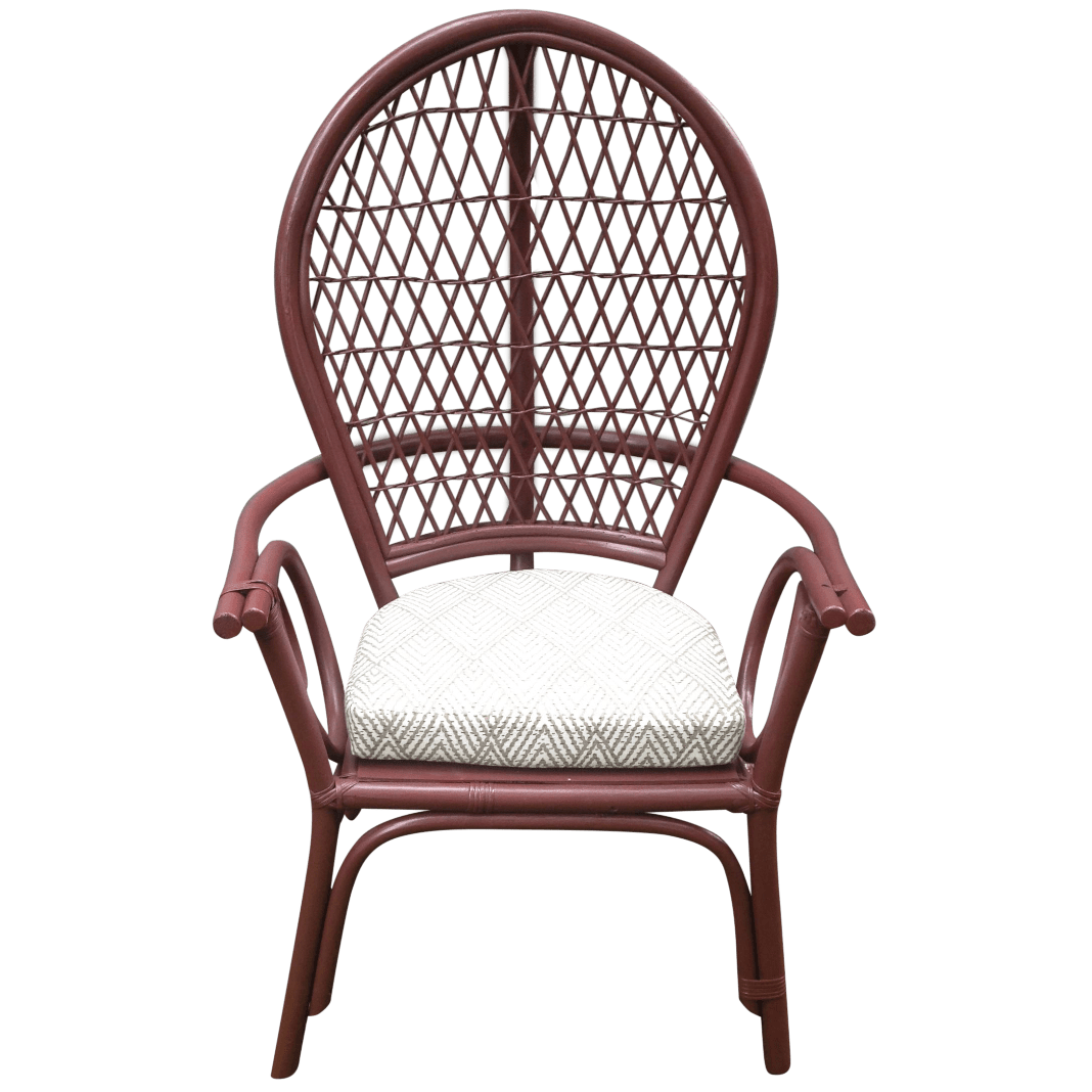 fan back wicker chair stool garden rattan chairish