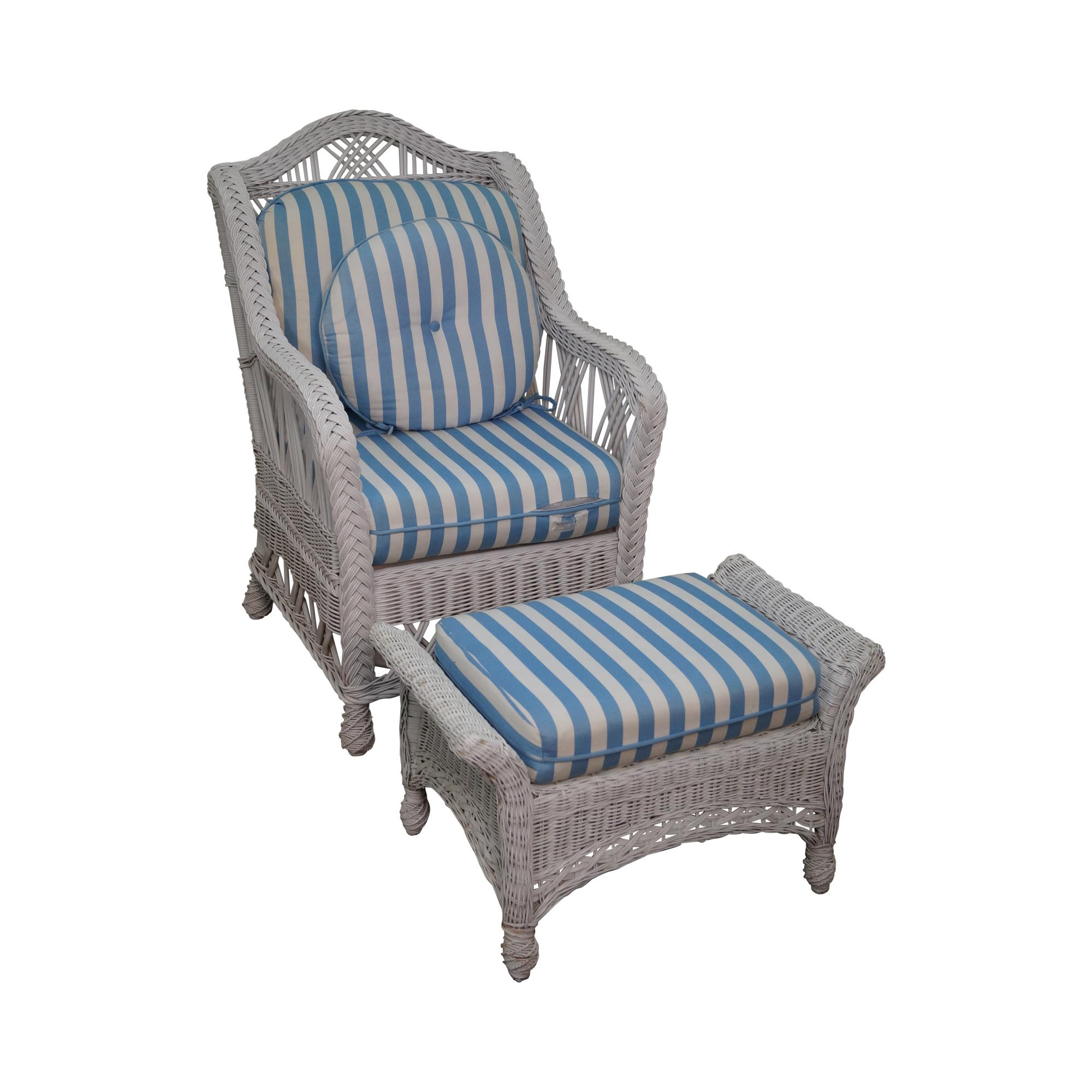 wicker chairs with ottoman underneath christmas chair covers australia victorian style white lounge