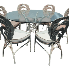 Banana Leaf Dining Room Chairs Antique White Pub Table And Vintage Aluminum Pattern Set Chairish