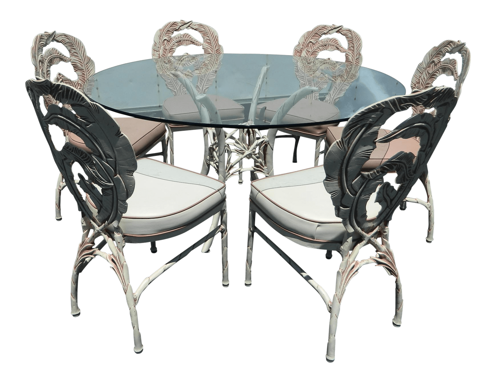 Banana Rocker Chair Vintage Aluminum Banana Leaf Pattern Dining Set Chairish