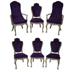 Purple Upholstered Dining Chairs Chair Cover And Sash Hire Aberdeen Vintage 1950s Set Of 6