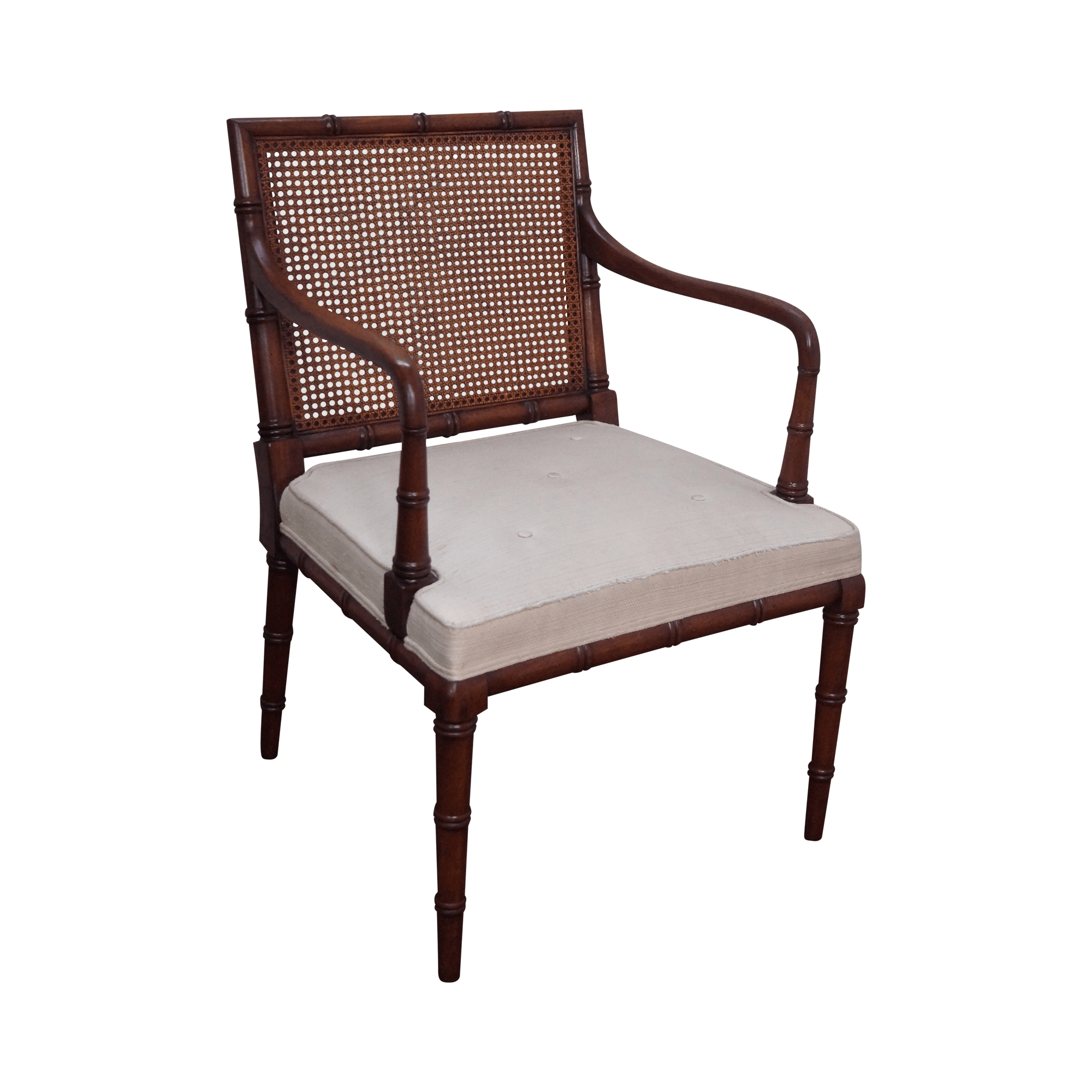 bamboo cane back chairs stool chair nz solid mahogany faux arm chairish