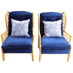 Rattan Wingback Chairs Swing Chair On Rent Vintage Bauhaus Wing Pair Chairish