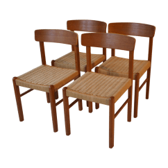Retro Dining Chairs Ireland Hanging Chair In Living Room Vintage Teak And Danish Cord Set 4 Chairish