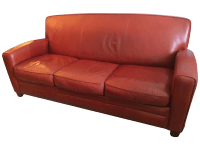 Thomasville Contemporary Red Leather Sofa | Chairish