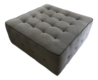 Large Tufted Square Grey Cocktail Ottoman | Chairish
