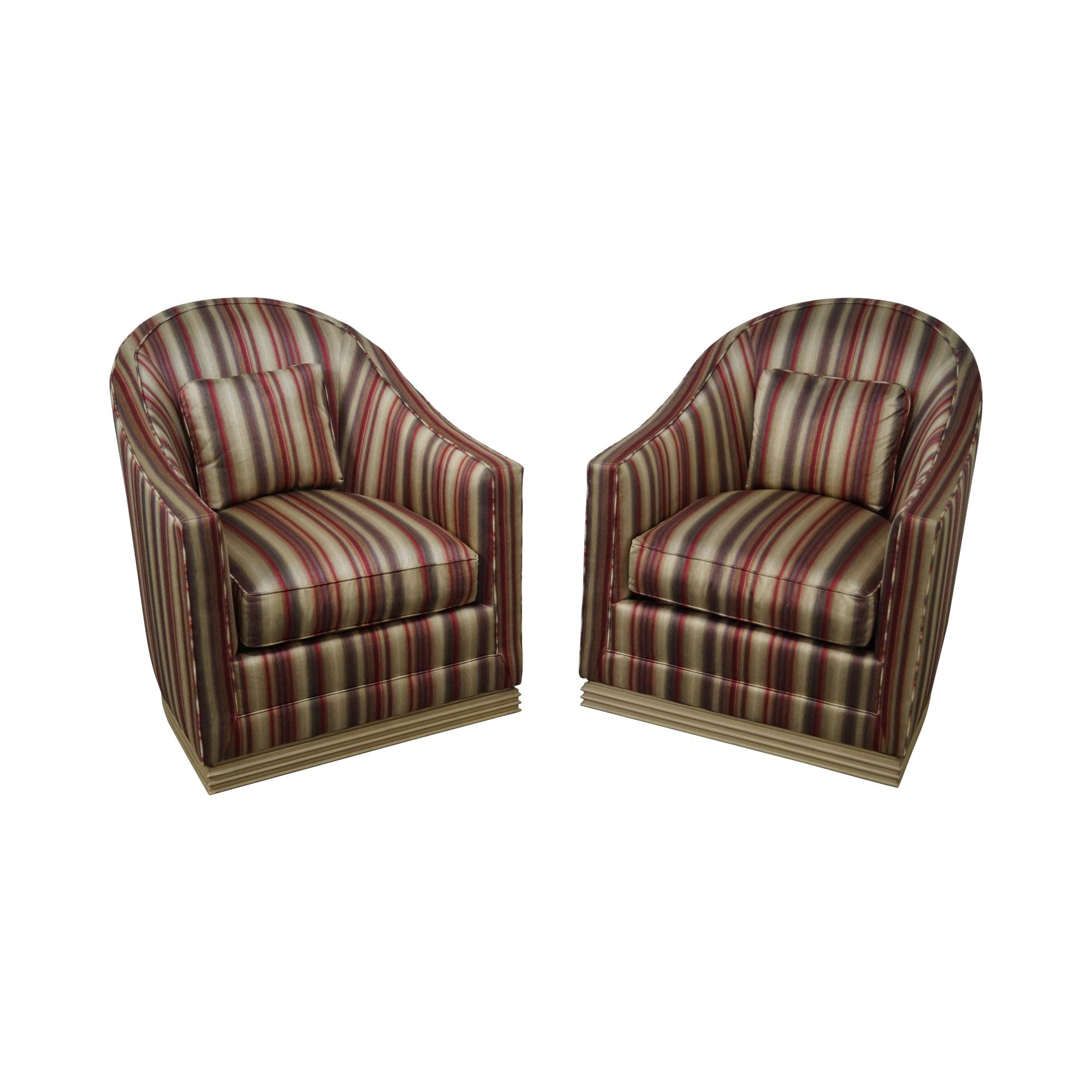 barrel chairs swivel rocker kneeling desk chair vanguard back lounge a pair chairish