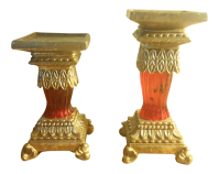 Gold & Ruby Pillar Candle Holders - A Pair | Chairish