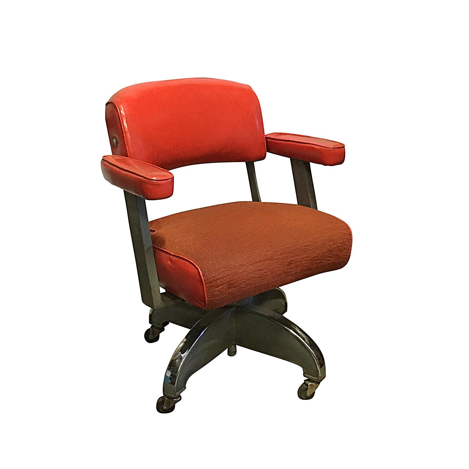 Mid Century Modern Office Chair 1950s Orange Mid Century Modern Office Chair Chairish