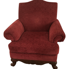 Red Velvet Office Chair Upholstered Rocking Chairs For Nursery Arm With Claw Feet Chairish