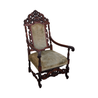 Antique 19th Century Heavily Carved Throne Chair | Chairish