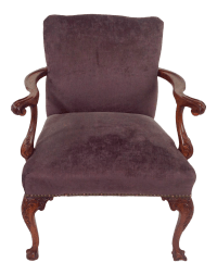 Antique Purple Velvet Claw Foot Chair
