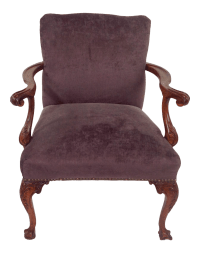 Antique Purple Velvet Claw Foot Chair | Chairish