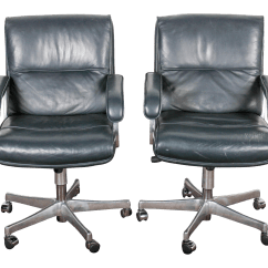Blue Leather Office Chair Waiting Chairs For Salon And Chrome Grahl A Pair Chairish
