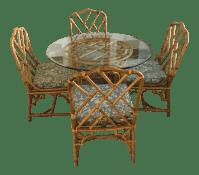 Mid-Century Modern Rattan Glass Dining Set | Chairish