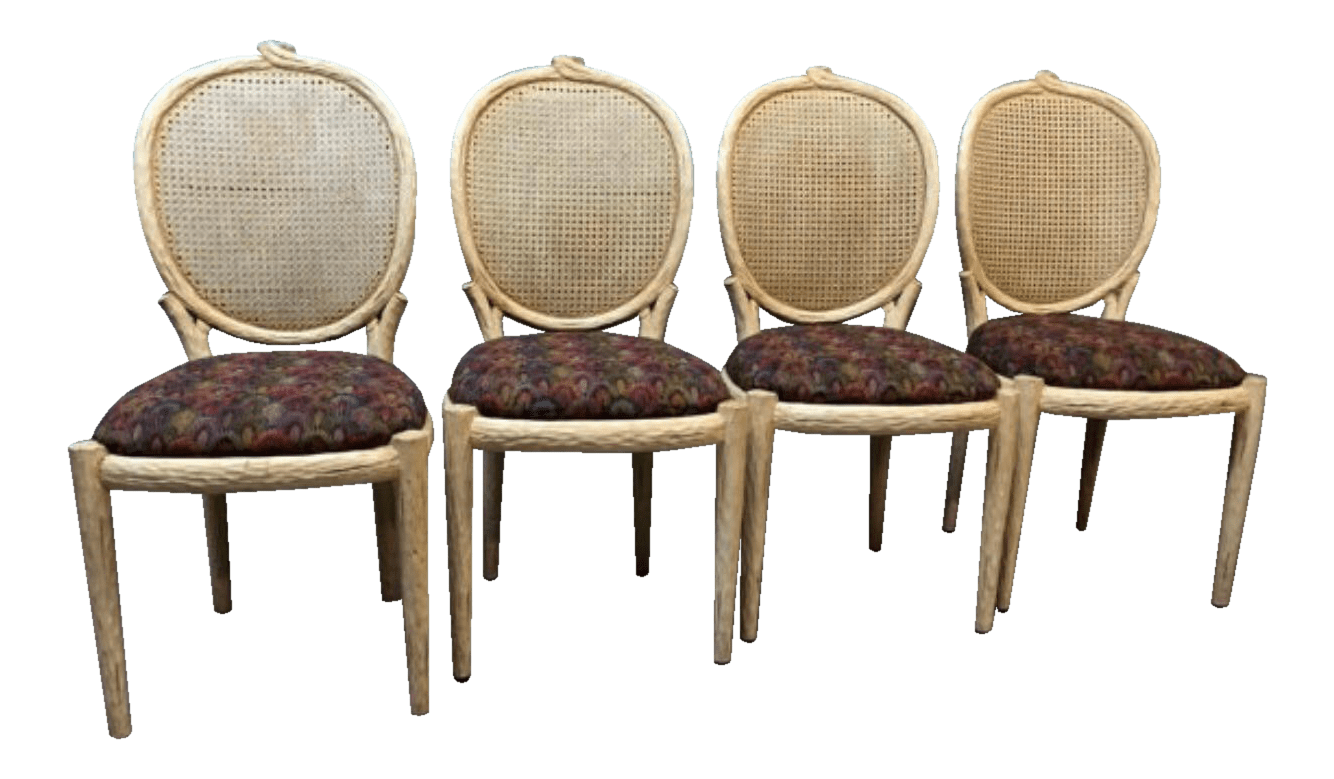 tree branch rocking chair stadium arm peacock upholstered chairs set of 4 chairish