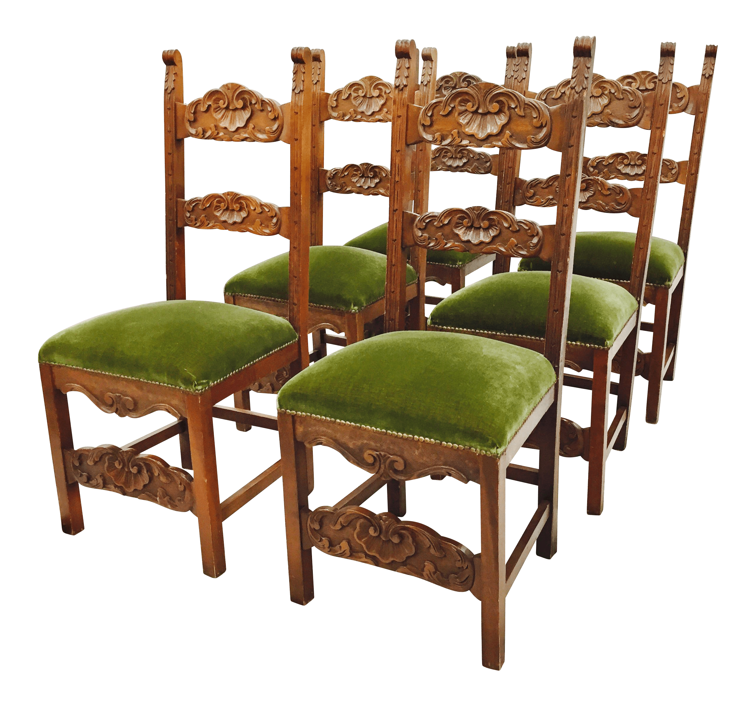 Green Velvet Dining Chairs Carved Shell Back Green Velvet Dining Chairs Set Of 6