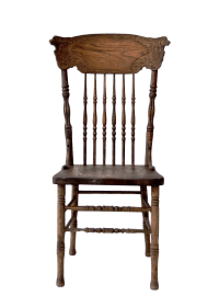 Antique Oak Press Back Chair | Chairish