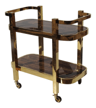 Modern Design Rolling Bar Cart With Marble Inserts | Chairish
