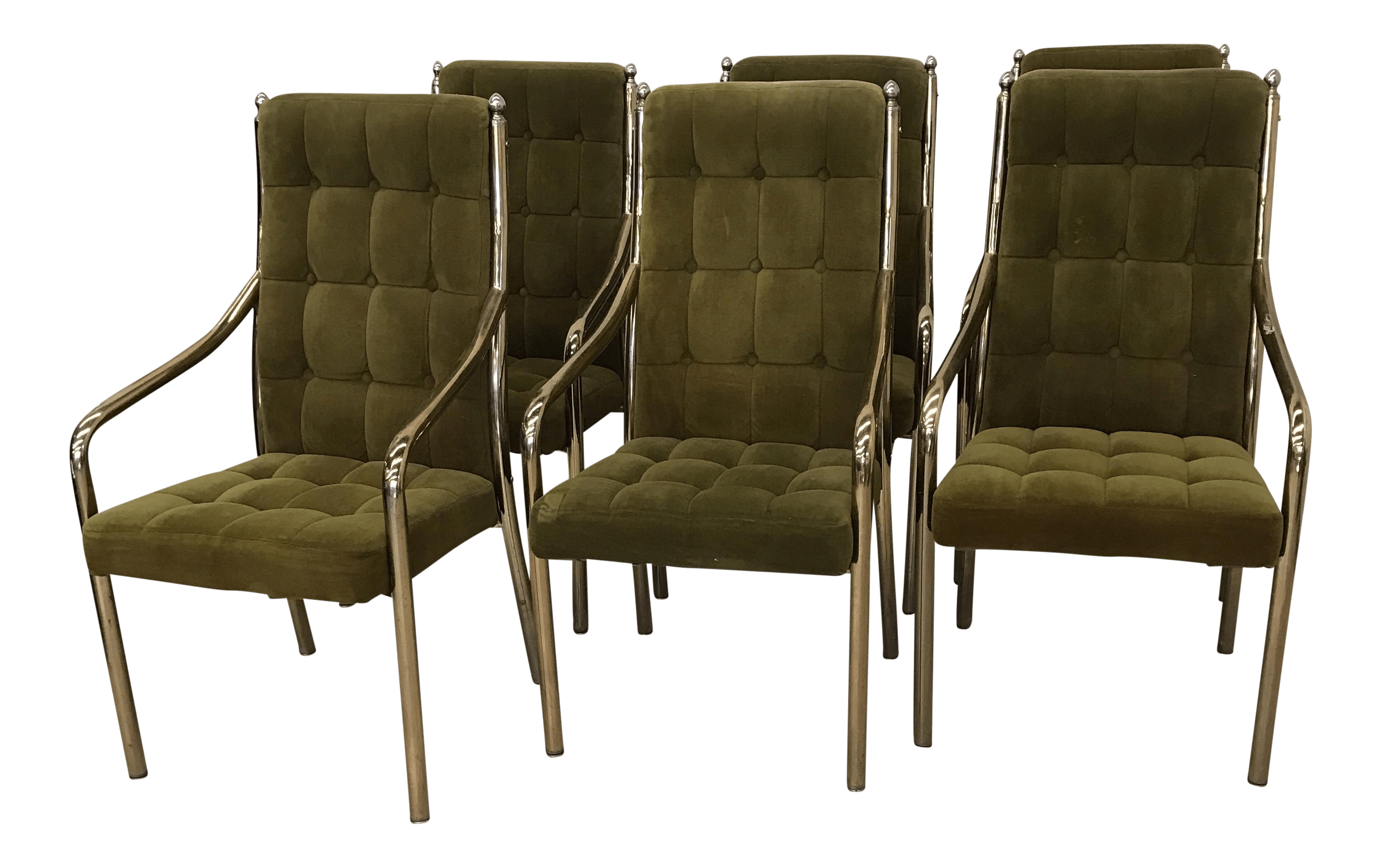 Green Velvet Dining Chairs Chromcraft Green Velvet And Brass Dining Chairs Set Of 6
