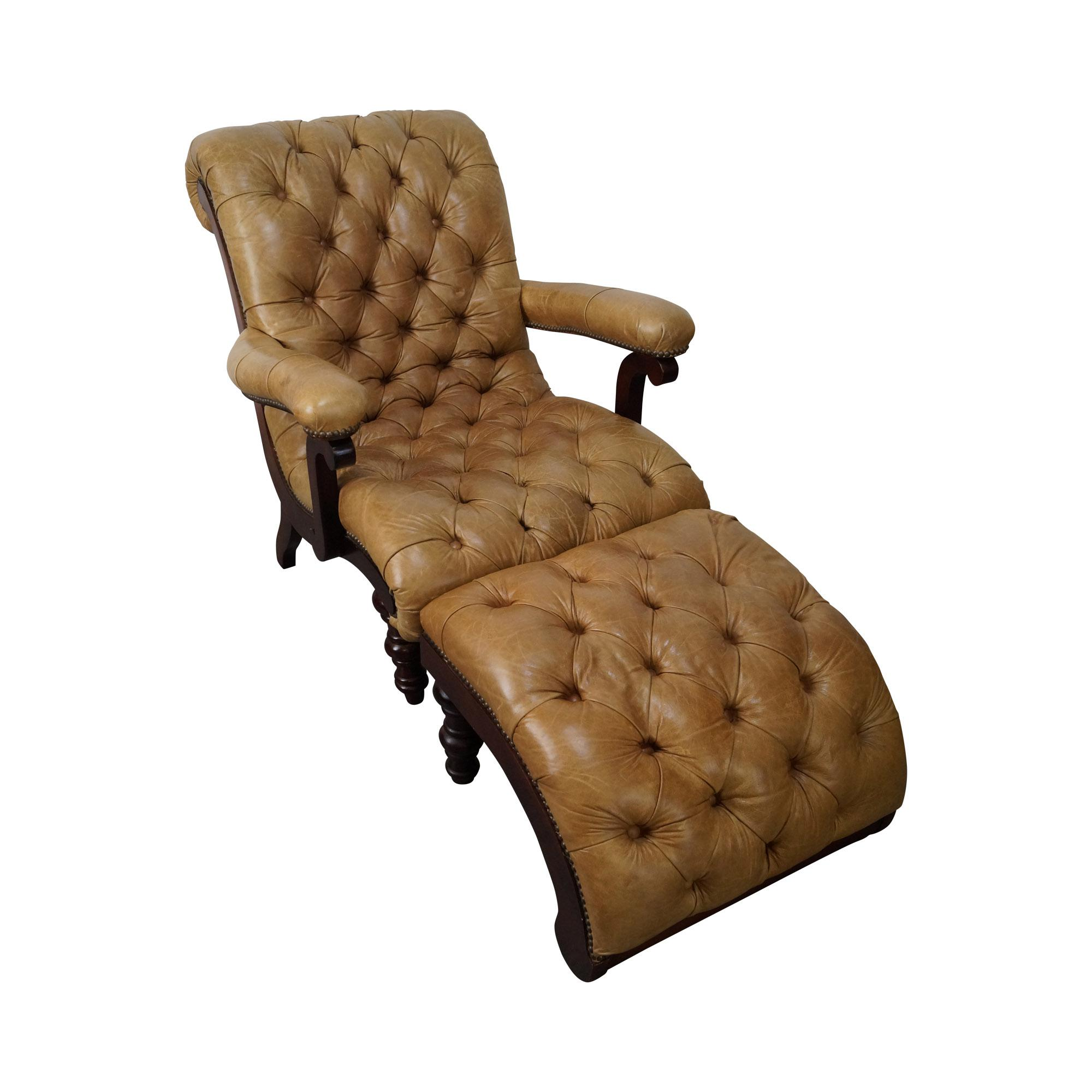 leather tufted chair and ottoman posture support desk chaise lounge with chairish