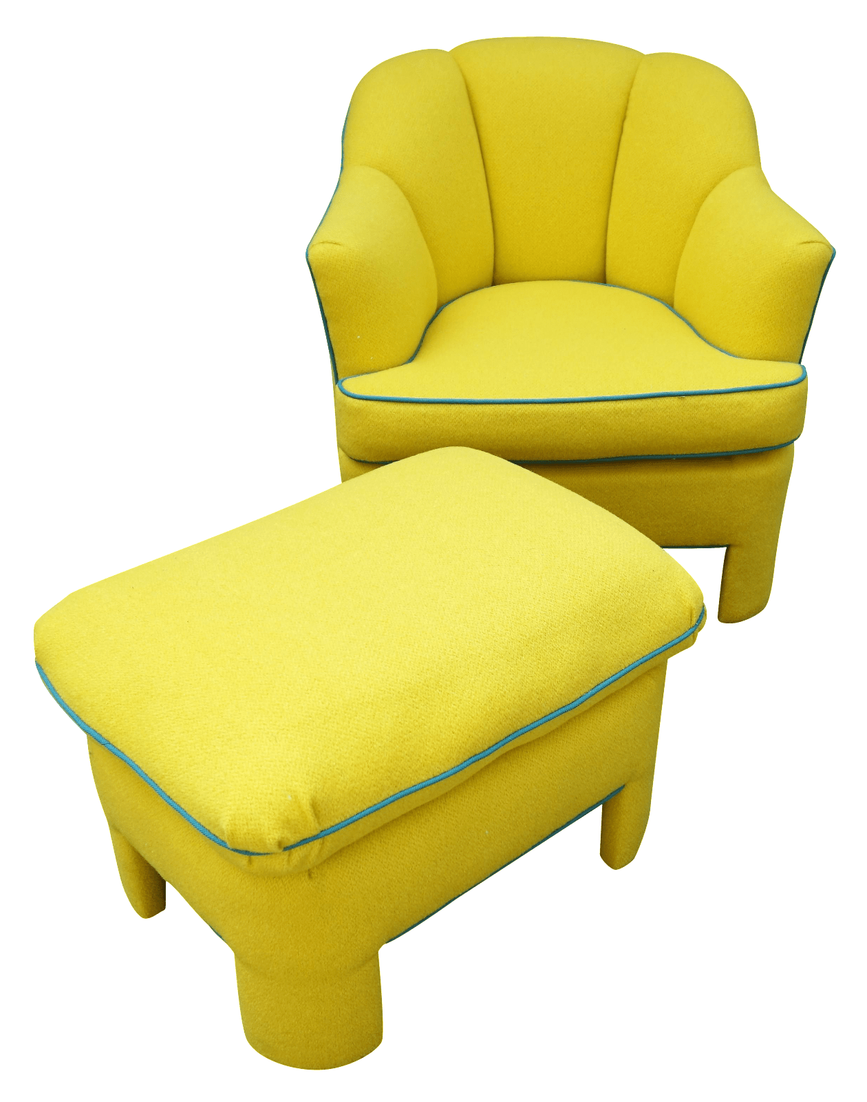 yellow club chair design master furniture chairs vintage 80s and ottoman chairish