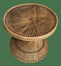Round Wicker Side Table | Chairish