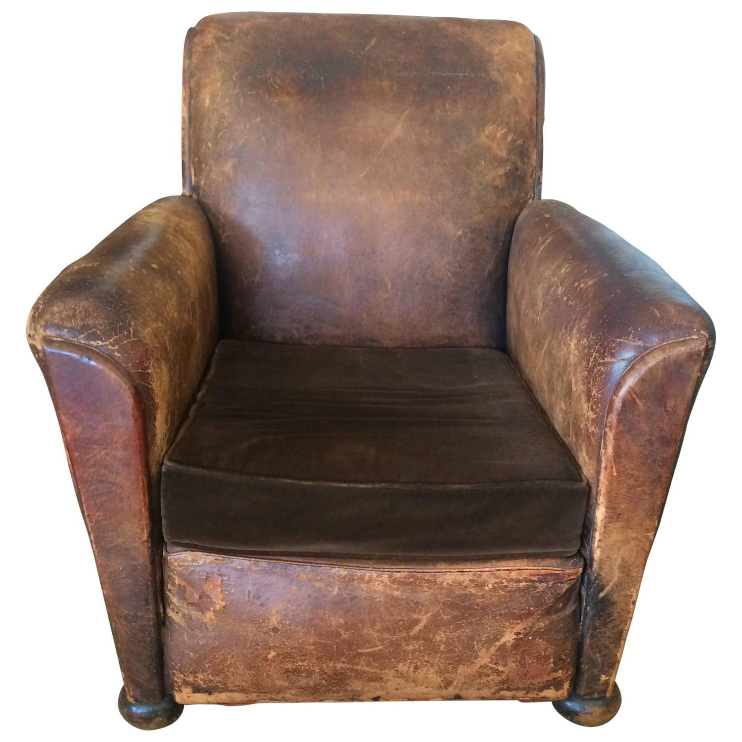 French Club Chair Distressed Leather And Velvet French Club Chair Chairish