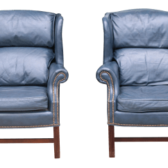 Teal Wingback Chair Swivel Recliner Real Leather Chairs A Pair Chairish