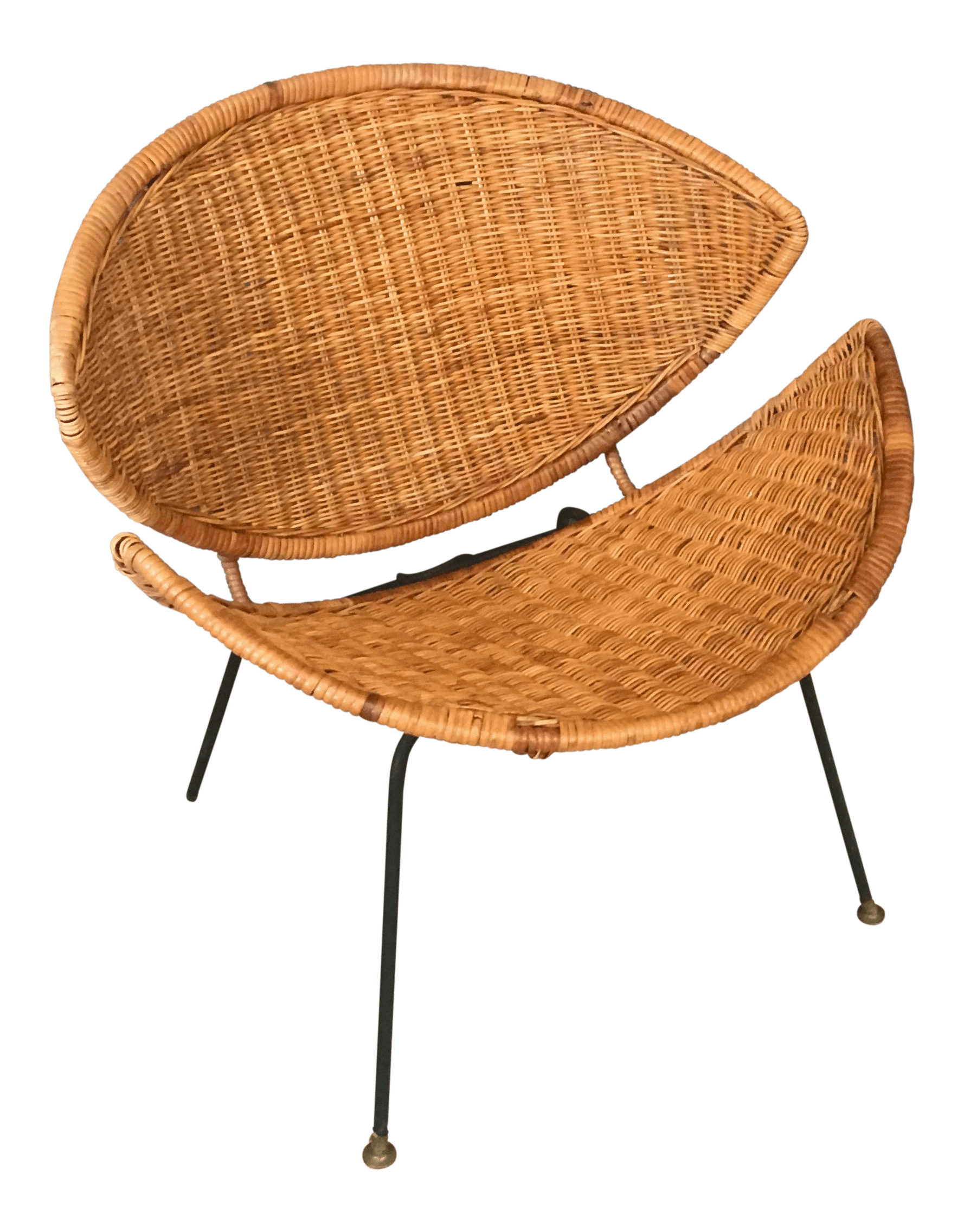 clam shell chair black spandex covers wholesale wicker and rattan chairish